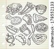 Set of various food in sketchy style  - stock photo