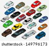 Set of Various Isolated 3d Cars - stock photo