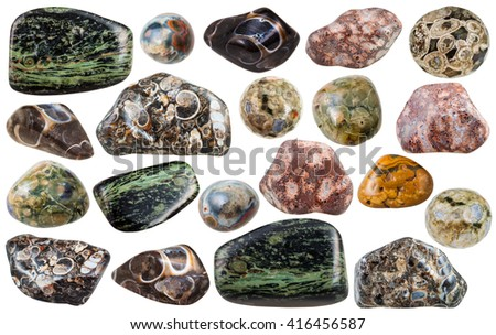 set of various Madagascar jasper natural mineral stones and gemstones isolated on white background - stock photo