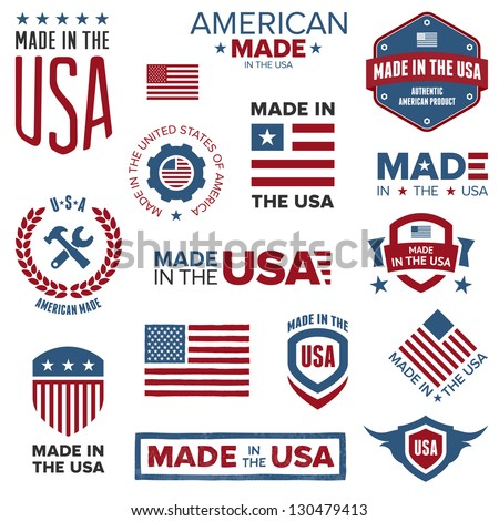 Set of various Made in the USA graphics and labels - stock photo