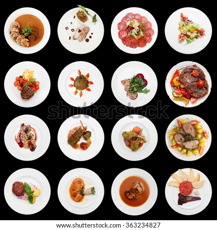 Set of various meat dishes isolated on black background - stock photo