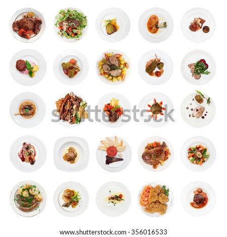 Set of various meat dishes shot from above, isolated on white background - stock photo