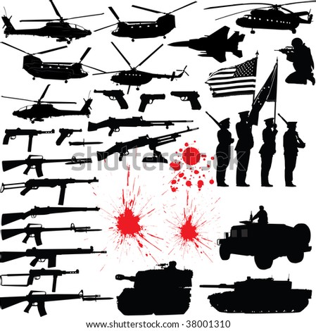 Set of various military related silhouettes - stock photo