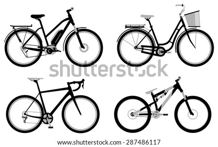 Set of various monochromatic sport, city and electric bicycles - stock photo