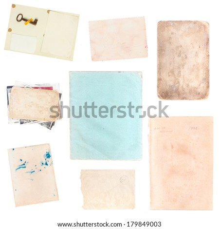 set of various old paper sheets and pictures isolated on white background - stock photo