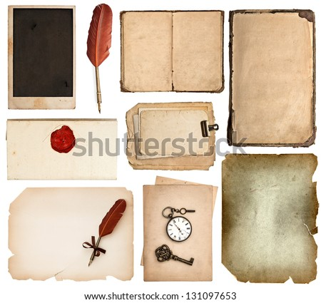 set of various old paper sheets. vintage book pages, cards, pieces isolated on white background. antique vintage accessories - stock photo