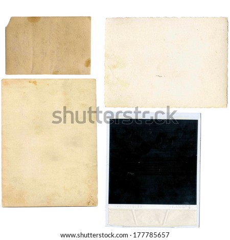 set of various old paper sheets. vintage photo and book pages, cards, pieces isolated on white background  - stock photo
