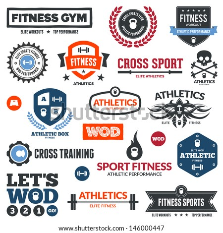 Set of various sports and fitness graphics and icons - stock photo