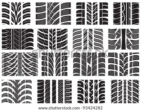 Set of various tyre treads - stock photo