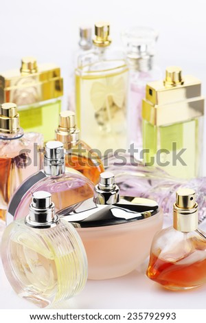 Set of various woman perfumes. - stock photo