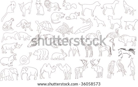 Set of vector animals, rough outlines - stock photo