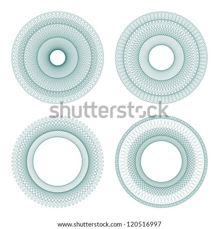 Set of vector guilloche rosettes certificate or diplomas, decorative elements (Raster version) - stock photo
