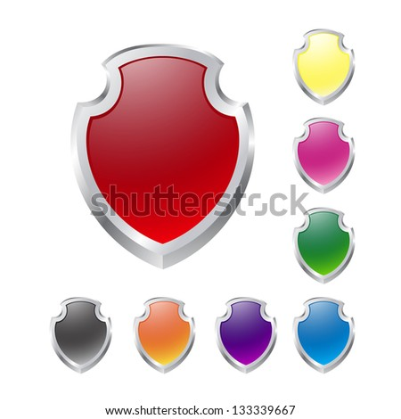Set of vector shields on white. Raster version of the loaded vector. - stock photo