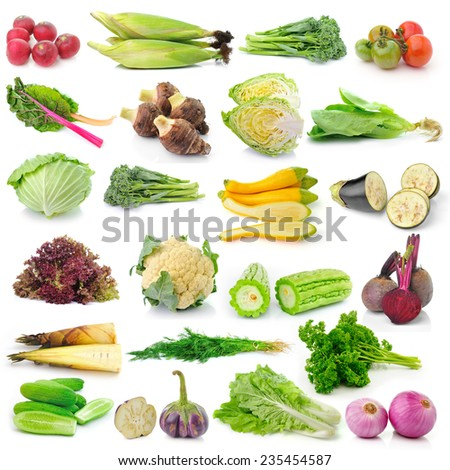 set of vegetable on white background - stock photo