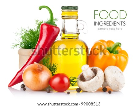 set of vegetables and spice for food cooking isolated on white background - stock photo