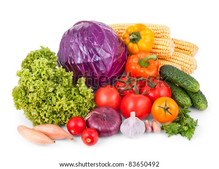 Set of vegetables isolated on a white background - stock photo
