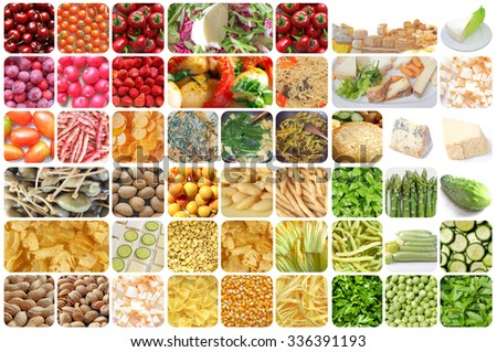 Set of vegetarian food including vegetables fruits pasta cheese curry crisps snacks - stock photo