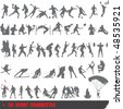 Set of 50 very detailed extreme sport silhouettes - stock photo