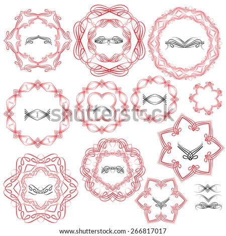 Set of Vintage backgrounds, Guilloche ornamental circle Elements for Certificate, Money, Diploma, Voucher, decorative round frames. Raster version - stock photo