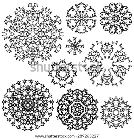 Set of Vintage backgrounds, Guilloche ornamental circle Elements for Certificate, Money, Diploma, Vouchers. Raster version - stock photo