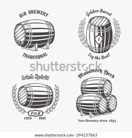 Set of vintage badge for beer house. Keg and drink, wooden cask, container wine - stock photo