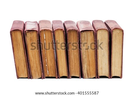 Set of vintage books with vintage brown cover, aged pages on a white background. Eight books. Soft focus - stock photo