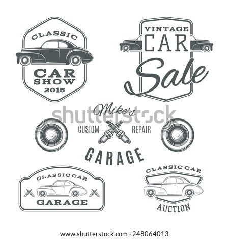 Set of vintage, classic car services labels isolated on white background. Logos - stock photo