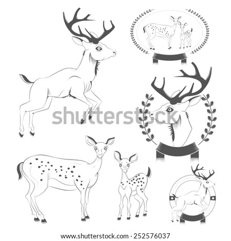 Set of vintage deer, emblems, labels, logo illustration - stock photo