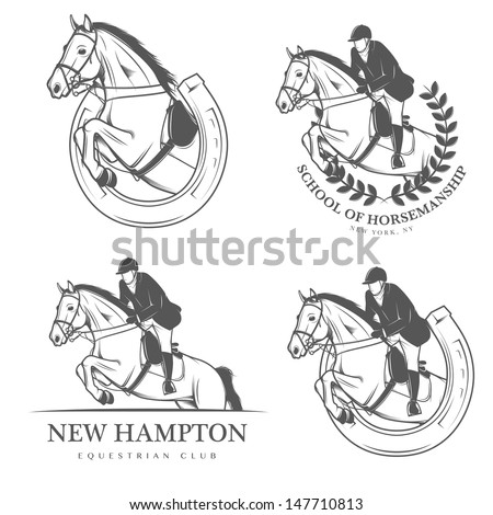 Set of vintage equestrian labels and badges - stock photo