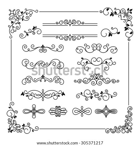 Set of vintage frame border divider corner. Calligraphic decorative elements - stock photo