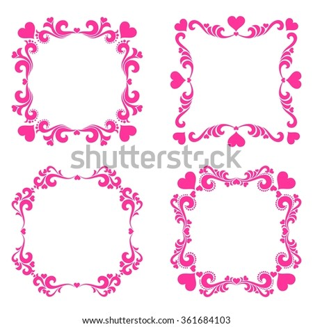 Set of Vintage frame. Valentine decoration set - lots of calligraphic elements, bits and pieces to embellish your holiday layouts. Collection of design elements isolated on White background.  - stock photo