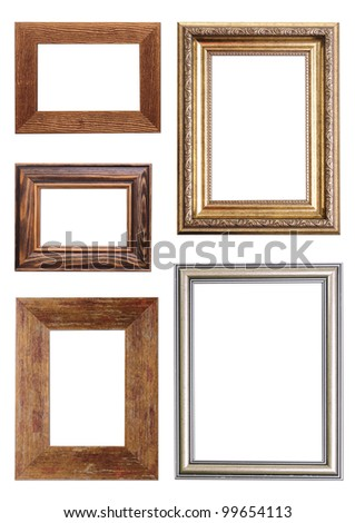 Set of Vintage gold and wood picture frame, isolated on white - stock photo