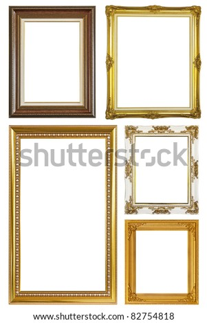 Set of Vintage gold picture frame isolated with clipping path - stock photo