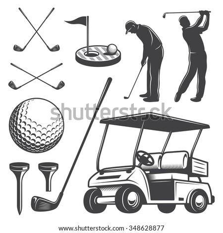 Set of vintage golf elements. Monochrome style - stock photo