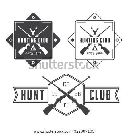 Set of vintage hunting labels, logo, badge and design elements. Illustration - stock photo