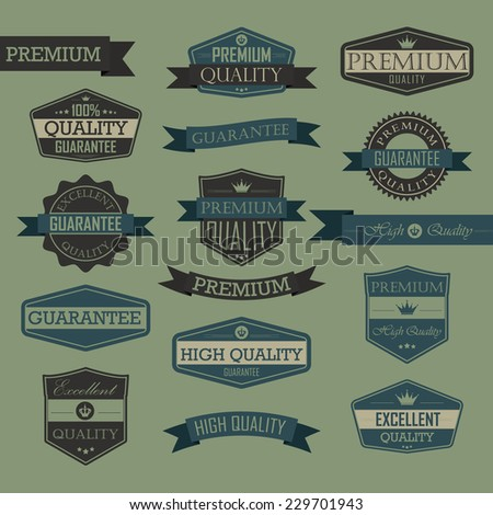 Set of vintage label - quality seal, high quality, premium, guarantee, excellent quality - stock photo