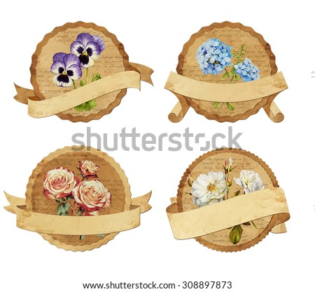 Set of vintage labels with flowers - stock photo