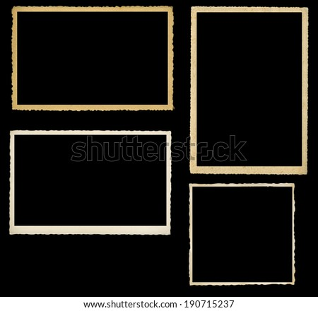 set of vintage photographic frames, knocked out on black background - stock photo