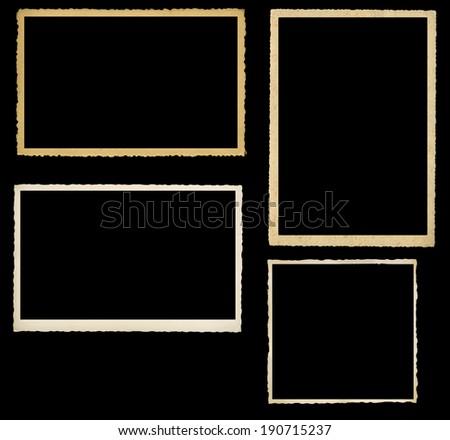set of vintage photographic frames, knocked out on black background - stock photo