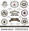 Set of vintage retro bakery labels - stock photo