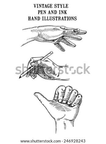 Set of vintage style pen and ink hand illustrations showing hands reaching, writing, hitchhiking and thumbs up signal.  - stock photo
