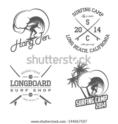 Set of vintage surfing labels and badges - stock photo