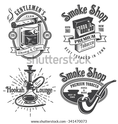 Set of vintage tobacco smoking emblems, labels. badges and logos. Monochrome style. Isolated on white background - stock photo