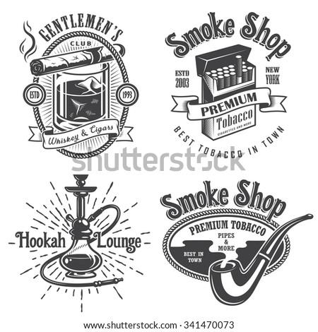 Set of vintage tobacco smoking emblems, labels. badges and logos. Monochrome style. Isolated on white background - stock photo