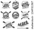 Set of vintage whitewater rafting logo, labels and badges - stock photo