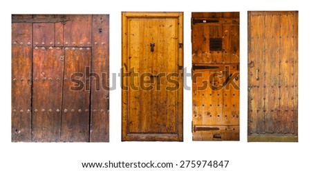 Set of vintage wooden doors. Isolated on white background - stock photo