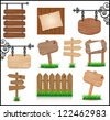 Set of vintage wooden signboards. Raster version. Vector is also available in my gallery - stock photo