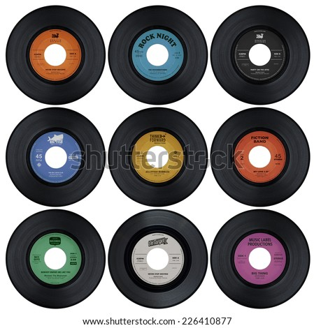 Set of vinyl records with fake labels (1 of 2) - stock photo