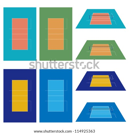 Set of Volleyball Courts in Different Colours - stock photo