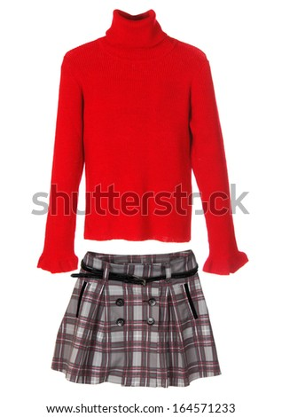 Set of warm female clothes isolated on white. Sweater and skirt. - stock photo